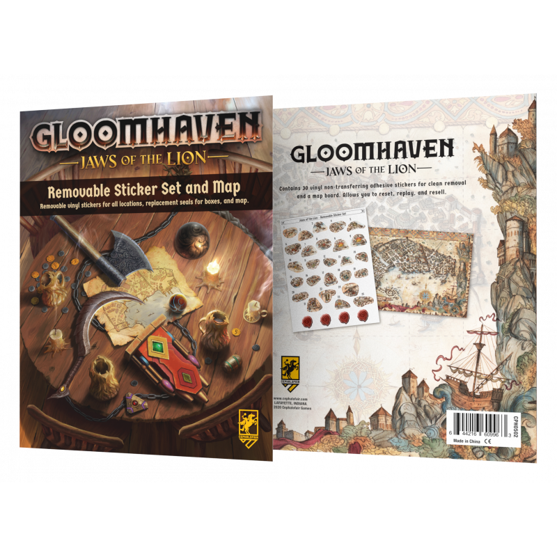 GLOOMHAVEN: JAWS OF THE LION REMOVABLE STICKER SET & MAP